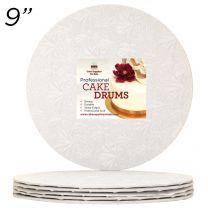 "9"" White Round Thin Drum 1/4"", 6 count"